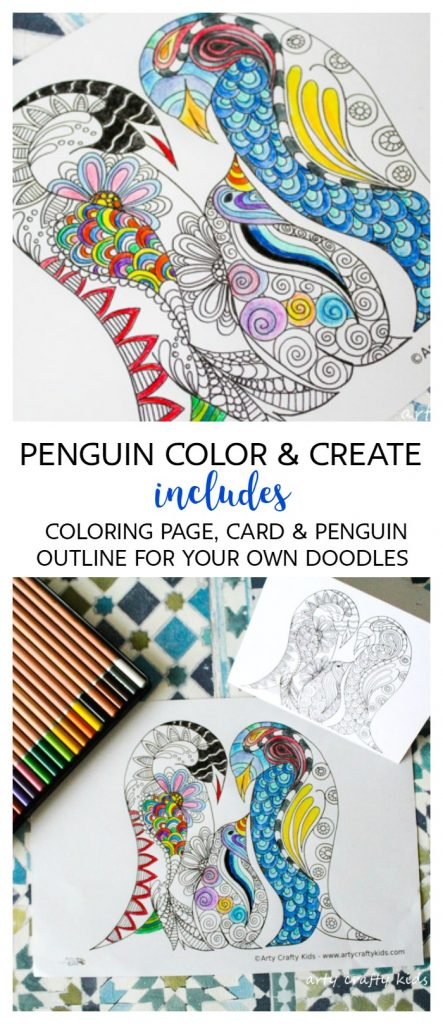 Penguin Color and Create Free Coloring Page - Arty Crafty Kids