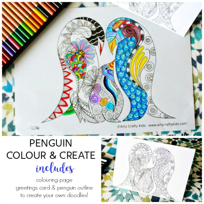 Penguin Color And Create Free Coloring Page Arty Crafty Kids Create Coloring Pages