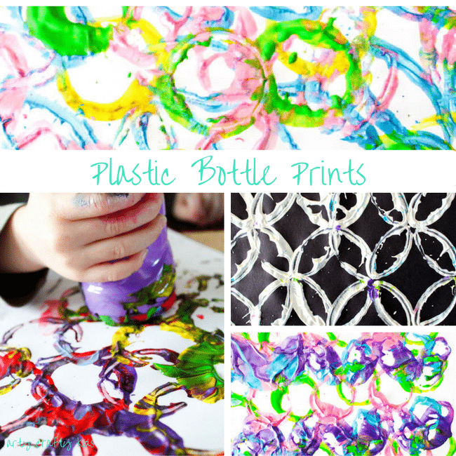 Arty Crafty Kids | Art | Kids Art Plastic Bottle Stamping | Simple art idea for kids using recycled plastic bottles, creating fun and unusual shapes and patterns.