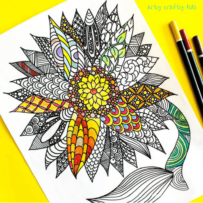 Arty Crafty Kids | Coloring Pages | Sunflower Coloring Page | Beautiful And  Detailed Sunflower Coloring