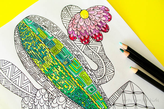 Cactus Coloring Page Arty Crafty Kids