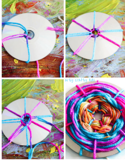 Arty Crafty Kids   Craft   Woven Hot Air Balloons   A simple fine motor weaving craft for kids, turning recycled CD's into Hot Air Balloons!