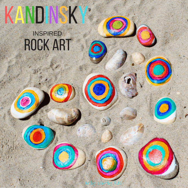Arty Crafty Kids   Art   Kandinsky Inspired Rock Art   A fun interpretation of Kandinsky's famous conecentric circles. A great way for kids to learn about famous artists and create their own colourful nature art with rocks.