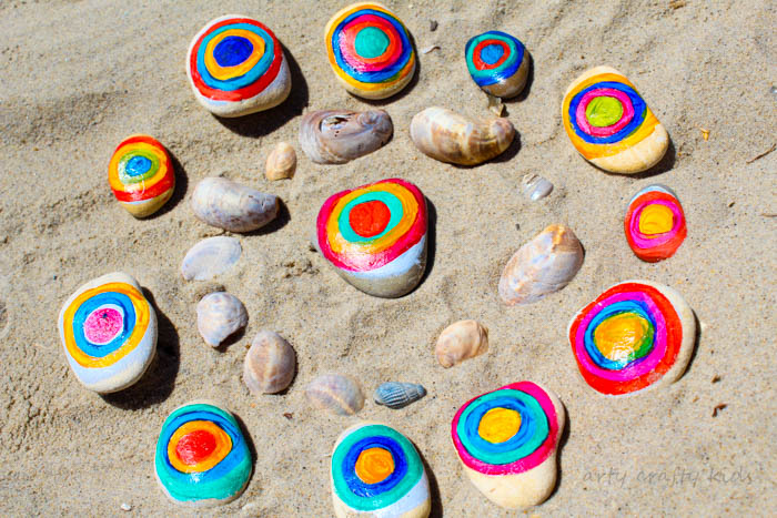 Arty Crafty Kids | Art | Kandinsky Inspired Rock Art | A fun interpretation of Kandinsky's famous conecentric circles. A great way for kids to learn about famous artists and create their own colouful nature art with rocks.