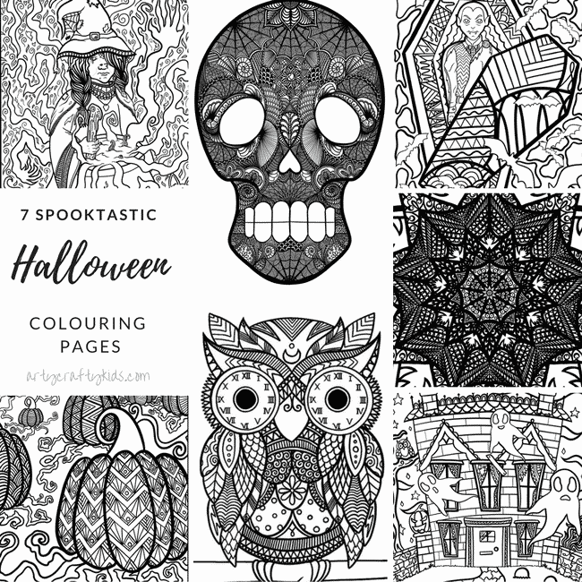 Arty Crafty Kids | Coloring Pages | Spooktastic Halloween Coloring Pages for Adults and Kids