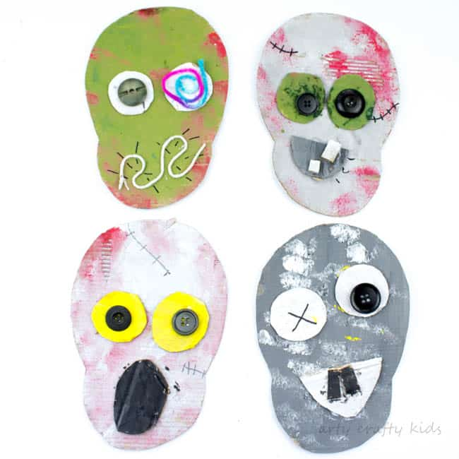 Arty Crafty Kids | Halloween | Cardboard Zombies Halloween Craft for kids using recycled materials. #halloweencraft #halloweenkidscraft