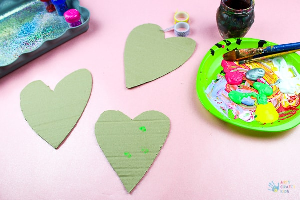 Recycled Cardboard Heart Decorations - Arty Crafty Kids
