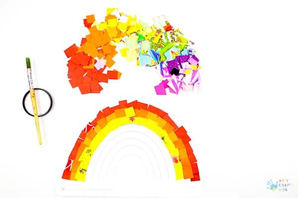 Arty Crafty Kids   Art Ideas for Kids   Rainbow Paper Collage   A fabulous rainbow paper collage activity that promotes cutting skills & colour play within a free rainbow template for kids to follow #rainbowart #preschoolart #craftsforpreschoolers #kidscrafts #scissorskills