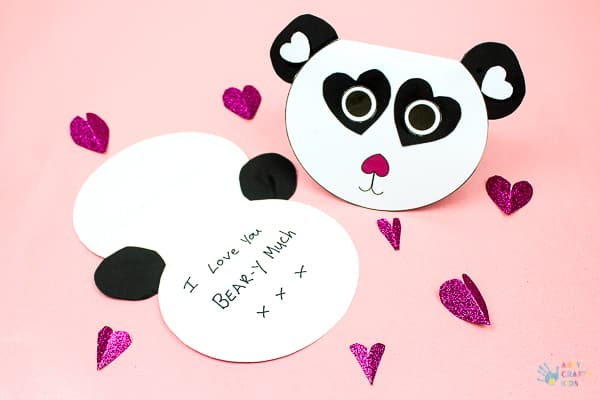 Arty Crafty Kids   Craft for Kids   Cute Printable Panda Card - an adorable printable card for kids to make. Perfect for Valentine's day, Mother's Day and special occassions #printable #mothersdaycard #valentinescard #papercraft #kidscraf