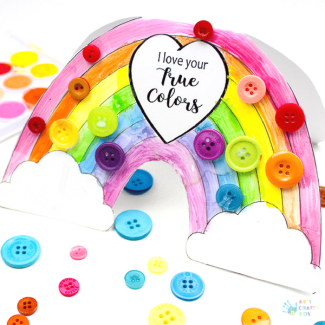 Arty Crafty Kids | Craft | Printable Rainbow 'I Love Your True Colours' Card - A beautiful printable greetings card for kids to colour. Perfect for Mother's Day, Valentine's Day, Birthday's or just because days #kidscards #kidscrafts #printable #rainbowcrafts #kidscrafts