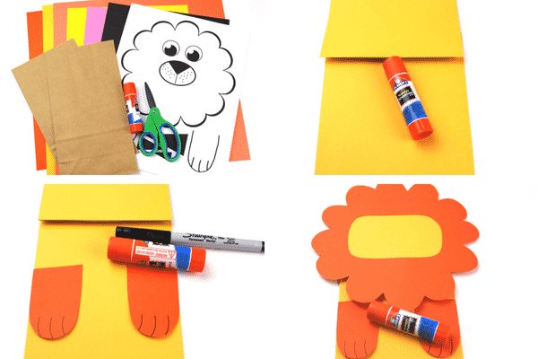 Arty Crafty Kids | Craft Ideas for Kids | Paper Bag Lion Puppet - A fun and interactive lion craft for kids. Great for story telling and imaginative play #kidscraft #craftideasdforkids #funcraftsforkids #animalcrafts