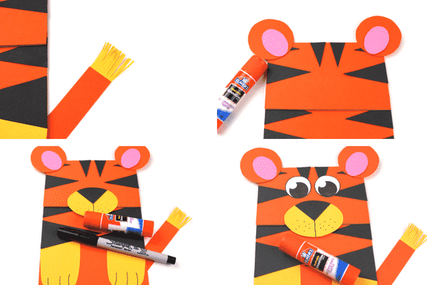 Arty Crafty Kids | Craft Ideas for Kids | Paper Bag Tiger Puppet - A fun and interactive tiger craft for kids. Great for story telling and imaginative play #kidscraft #craftideasdforkids #funcraftsforkids #animalcrafts