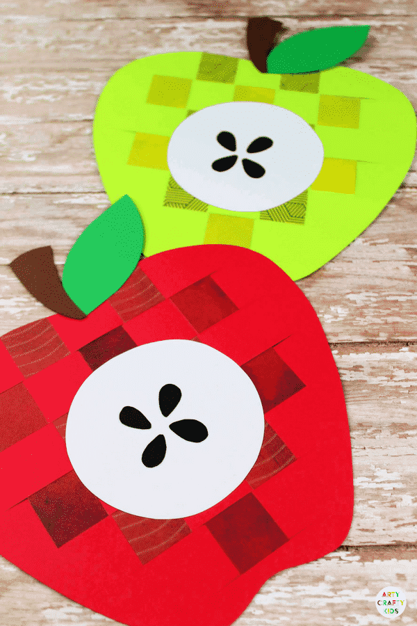 Arty Crafty Kids - Craft Ideas for Kids - Paper Apple Weaving Craft for Kids - A sweet Apple kids craft to kickstart the new school term and the beginning of Autumn. Great for developing fine motor skills and for little hands to learn basic weaving techniques #kidscraft #applecraft #craftsforkids #papercraft