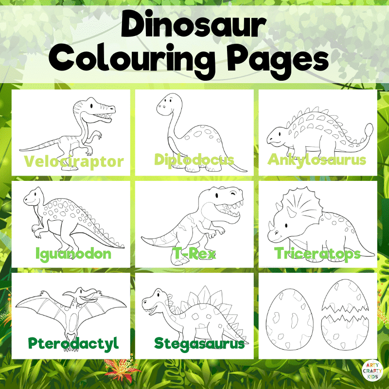 Dinosaur Coloring Pages Arty Crafty Kids