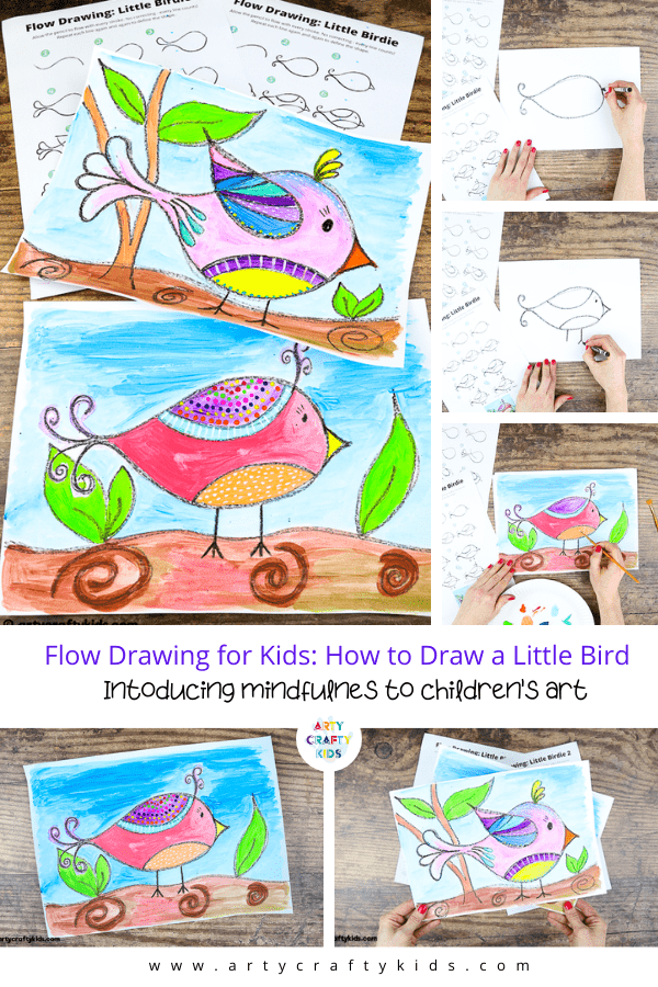 Flow Drawing For Kids How To Draw A Little Bird Arty Crafty Kids