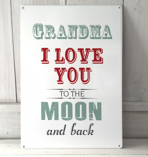 Download Grandma I love you to the moon and back metal sign