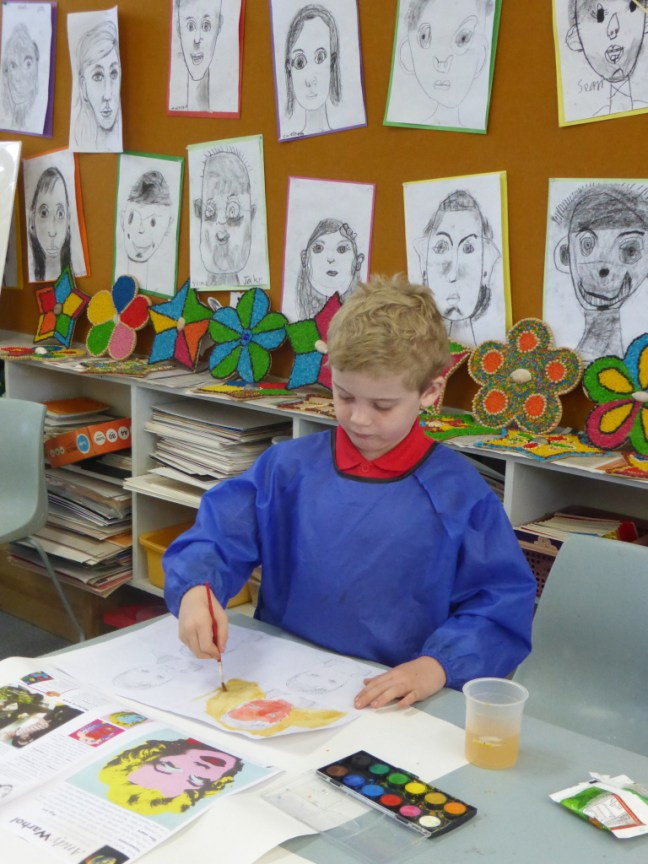 Working in the style of Andy Warhol takes concentration!