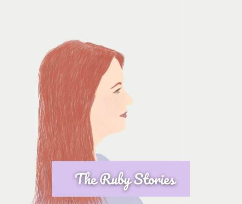 Watercolor painting of a girl with red hair in a lavender dress labeled The Ruby Stories