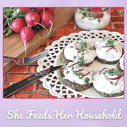 Picture of bread with spread and radish slices to illustrate ways to make it easy cooking food