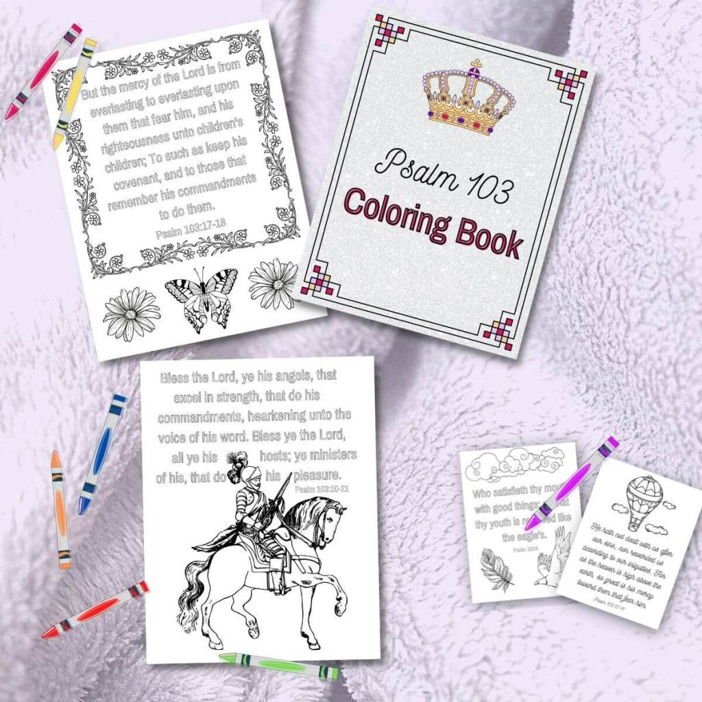 Psalm 103 Printable Coloring Book pages with crayons