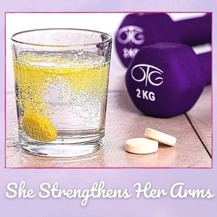 Purple weights, lemon water, pills, all to go with the benefits of exercise for health and our verse which is Proverbs 31:17