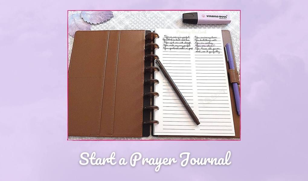 Picture of prayer journal for how to start prayer journal