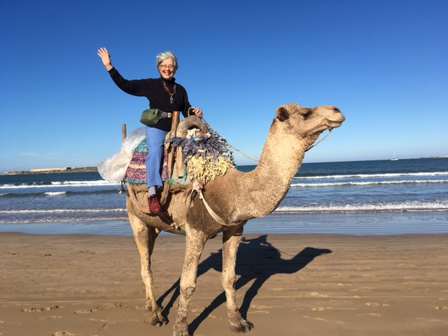 70- plus year old katherine Hass riding a camel on the beach in Morocco.