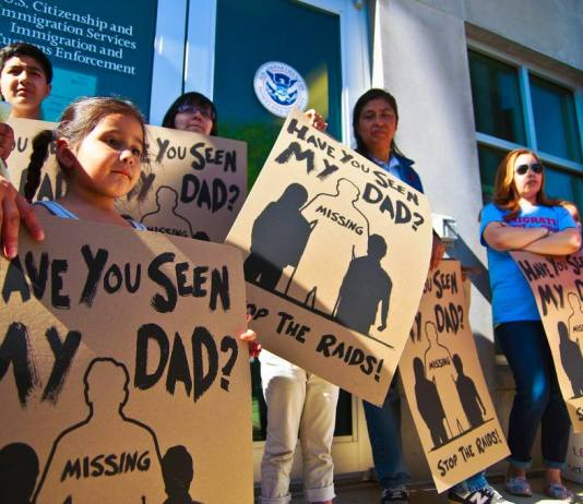 Protest against separation of families have taken place nationally. In June, County Executive Steve Schuh finalized plans to deputize county officers to act as immigration agents. He did so at the objection of the County Council and many citizen groups. Photo: Joe Brusky, Creative Commons