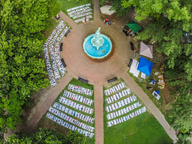 An aerial view of Fountain Park in Chestertown where KQAI placed over 1,000 shoes to represent those who could lose heatlhcare in Kent County if the ACA is repealed.