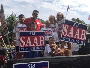 District 33 Delegate Sid Saab with his supporters at the Severna Park parade on July 4th. Saab is an immigrant from Lebanon who lobbied against legislation last year that would have protected immigrants in Maryland.