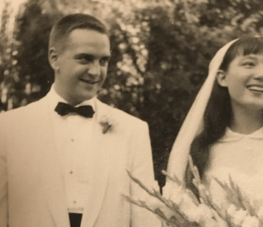 The marriage of the author and her husband Ray Haas in xxxx. At the time, it was against the law for a mixed race couple to marry in Virginia and they married in Washington, D.C.