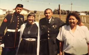 Katherine Haas and her adopted Sioux sister and sons. Photo: Ray Haas