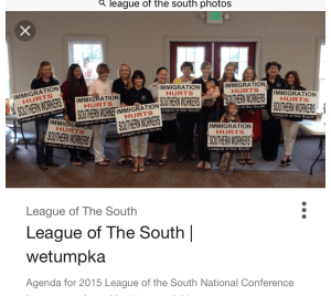 League of the South 2015 meeting. Natalie Peroutka is pictured third from the right.