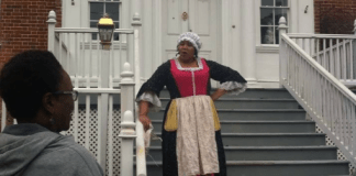 Scotti Preston portrays a colonial slave in a work written by Janice Hayes Williams. Preston will be preforming at the event. Photo: Vicky Bruce