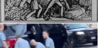 Top: Image of four slave catcher police force from 1839. Bottom: Image of George Floyd being apprehended by Minneapolis police officers right before his murder by officer Derrick Chauvin..