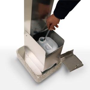 ARYA, Dispenser, Colonnina igienizzante, da esterni, piantana, igienizzante, gel, sanificante, sanificazione, no touch, senza tocco, a pedale,