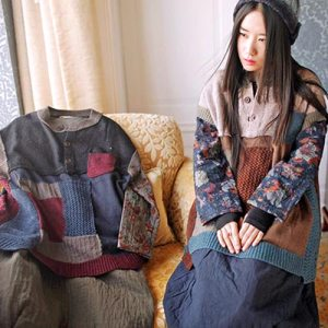 japanese style mori patchwork wool knitted vest cutout top