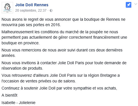 Annonce Jolie Doll Rennes