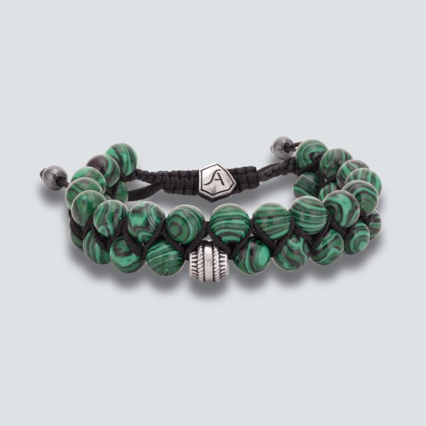 Malachite Double Line Bead Bracelet
