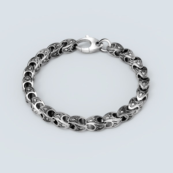 Shield Engraved Chain Bracelet