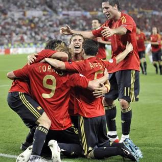 Los españoles celebran el gol de Torres