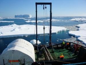 Retrieving core samples from the ocean floor