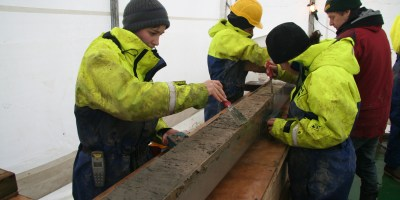Dr. Minzoni samples sediment cores
