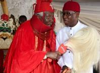 Okowa and HRM Ovie Richard Ogbon of Olomu Kingdom