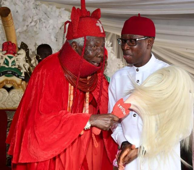 Okowa and HRM Ovie Richard Ogbon of Olomu Kingdom