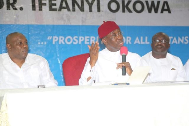 Governor Okowa Briefing Journalists