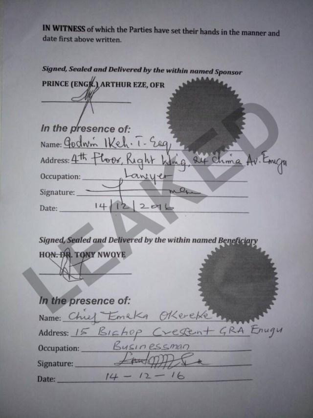 Anambra Election Leak Agreement by Tony Nwoye