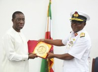 Okowa receives Rear Admiral Peter Onaji of Nigerian Navy