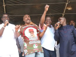 From left; Chief of Staff Government House, Rt. Hon. Tam Brisebe; Hon Michael Diden; Commissioner for Urban Renewal, Asupa Forteta and Chief Protocol Officer to the Governor, Mr. Ifeanyi Eboigbe, during Delta Political Vanguard Rally at Agbor.