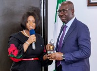 Edo State Governor, Mr. Godwin Obaseki (right) with the Executive Director, Business Development, Nigerian Export-Import (NEXIM) Bank, Hon. Stella Okotete; during the courtesy visit of the Management of NEXIM Bank to the governor at the Government House in Benin City, on Thursday, March 15, 2018.
